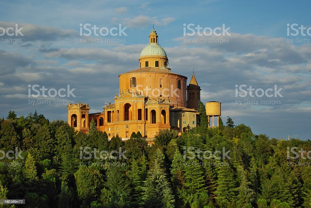 BOLOGNA,IT - View of S.Luca church on the hill stock photo