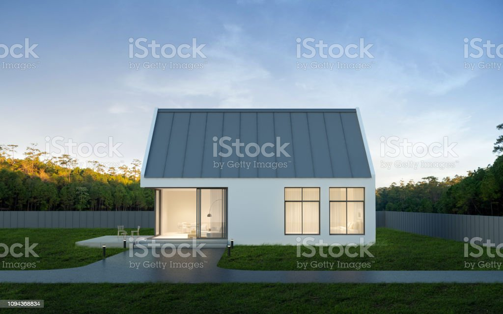 View Of Small Modern House In Minimal Style With Green Lawn On