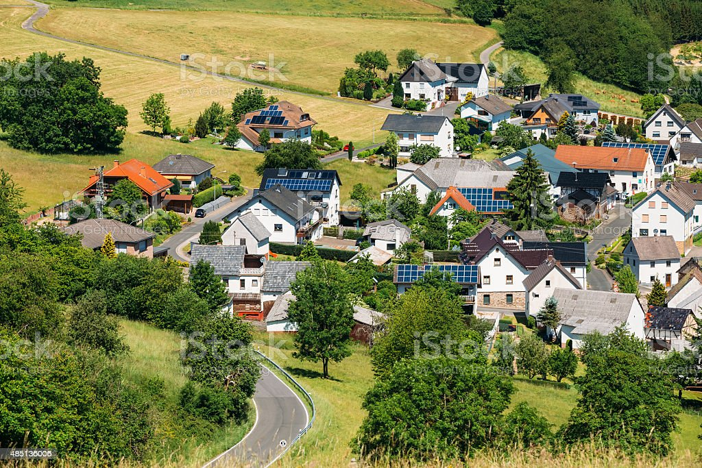 View Of Small Picturesque Village In Germany stock photo
