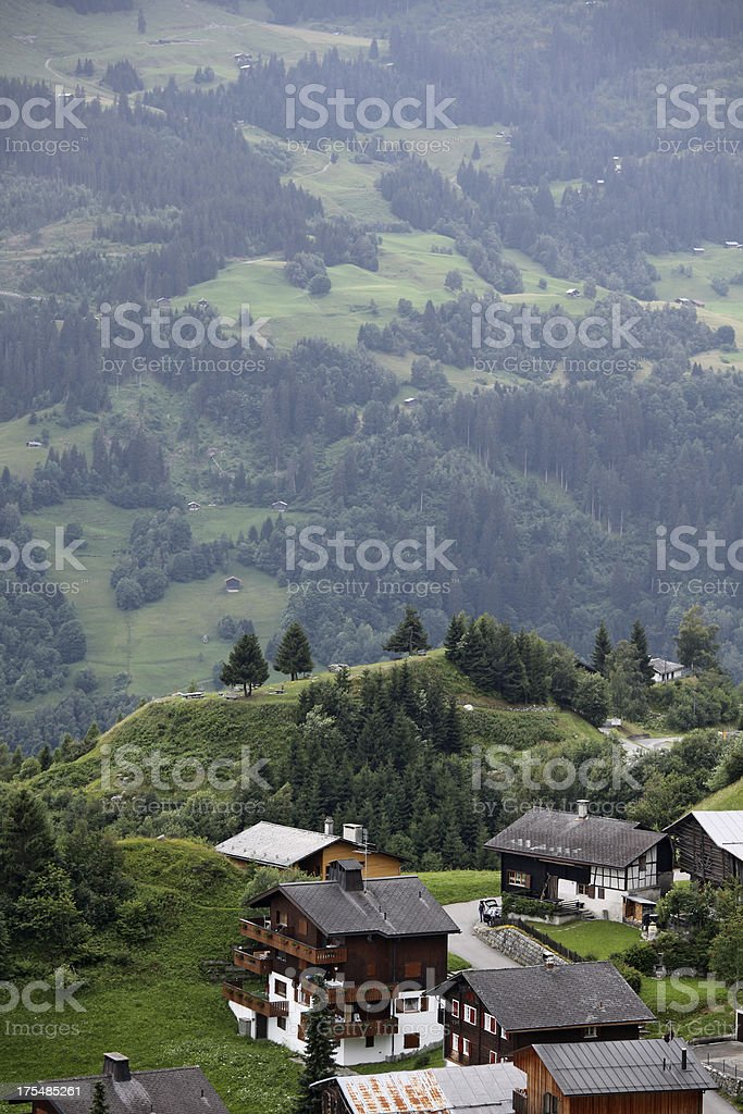 View of small village and landscape in Switzerland royalty-free stock photo