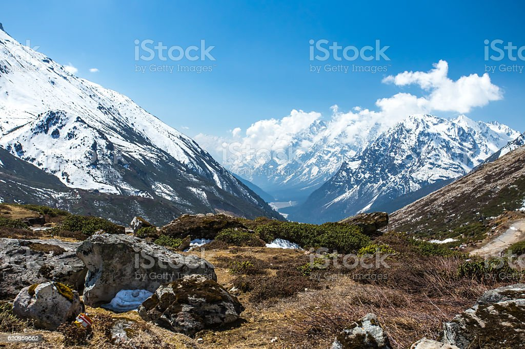 View of snow moutain in Sikkim, India stock photo