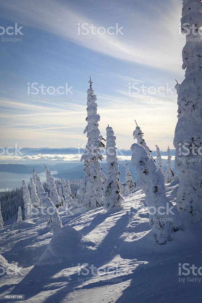 View of snowghosts and Lake Pend Oreille stock photo