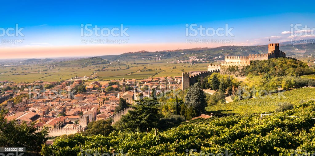 view of Soave (Italy) and its famous medieval castle. stock photo