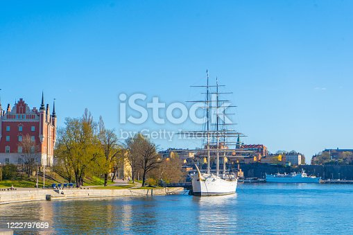 View of Sodermalm (central district). Stockholm capital of Sweden. Lakeside panorama. Travel photo.