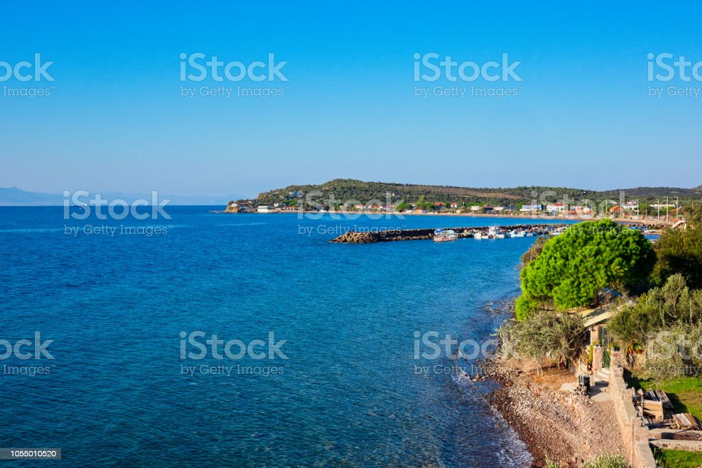 View of Sokakağzı, a seaside fishing village located on the Aegean side of Turkey stock photo