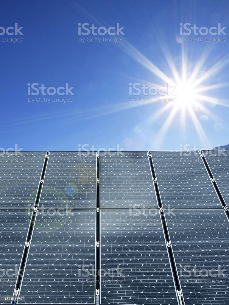 View of solar panels and the sun royalty-free stock photo