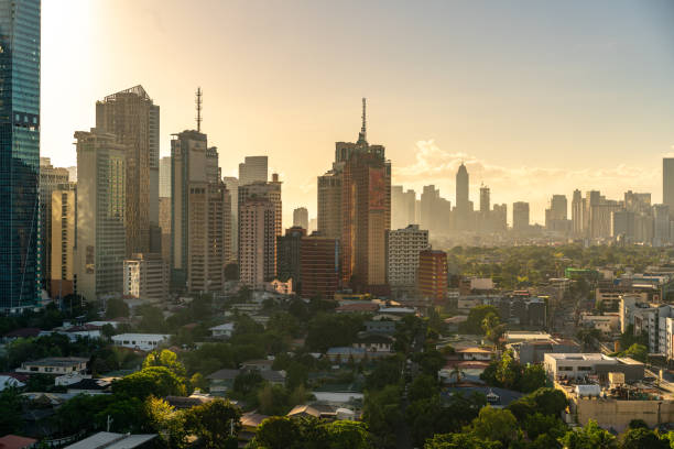 A view of some condominiums and Hotels along with the exclusive houses in Makati City, Philippines stock photo
