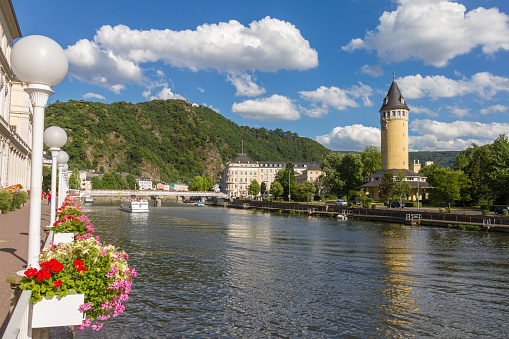 View of spa town Bad Ems at river Lahn, Germany