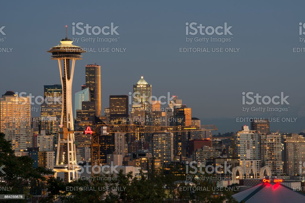 View of Space Needle and Seattle skyline at dusk stock photo