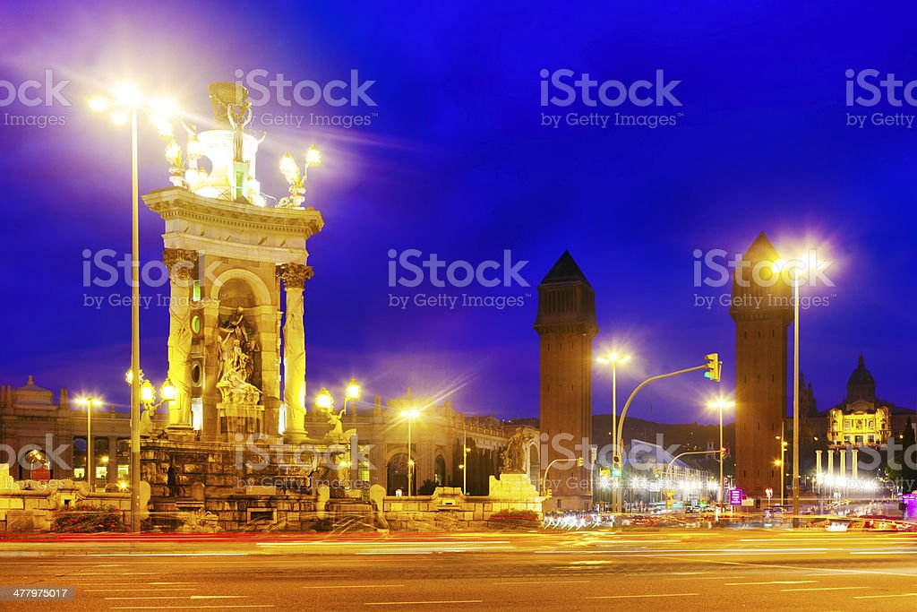 View of Spain square at Barcelona in evening royalty-free stock photo