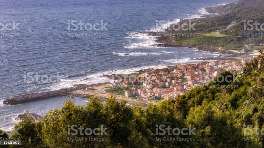 View of Spanish seaside village of La Guardia in Galicia. royalty-free stock photo
