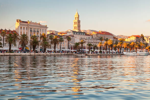 View of Split old town from the sea, Croatia stock photo
