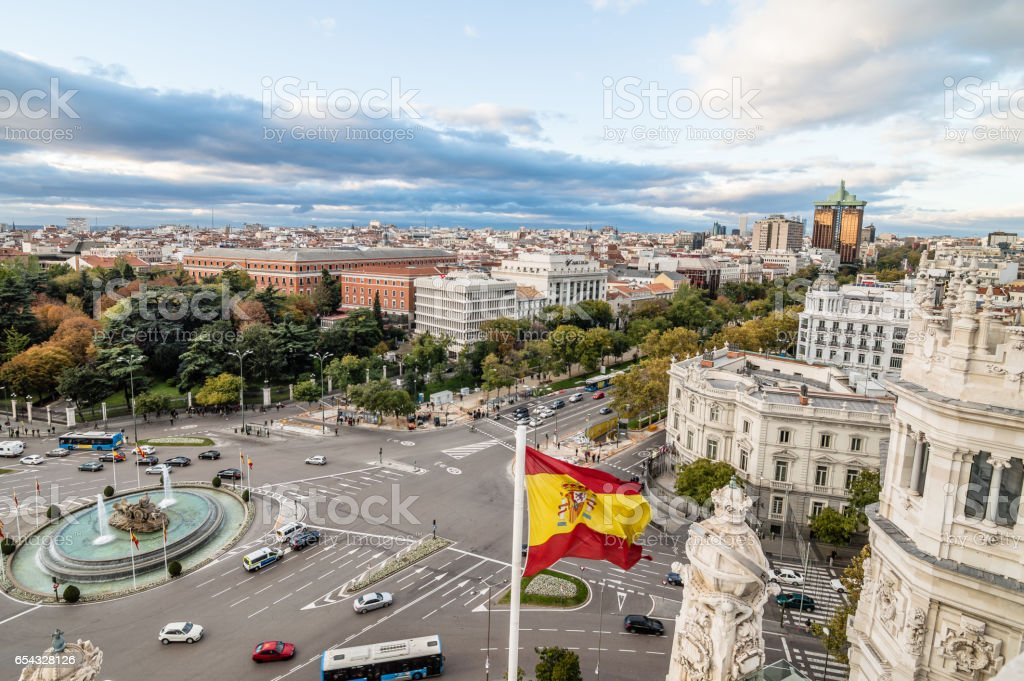 View of Square of Cibeles from Town Hall of Madrid at sunset. stock photo