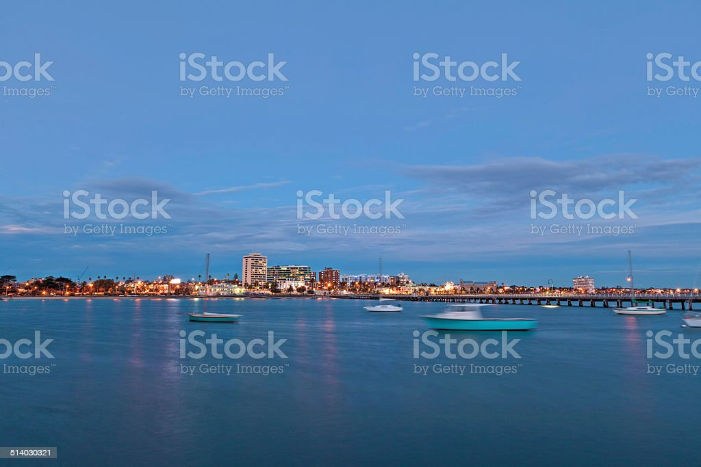View of St. Kilda suburb from the pier stock photo