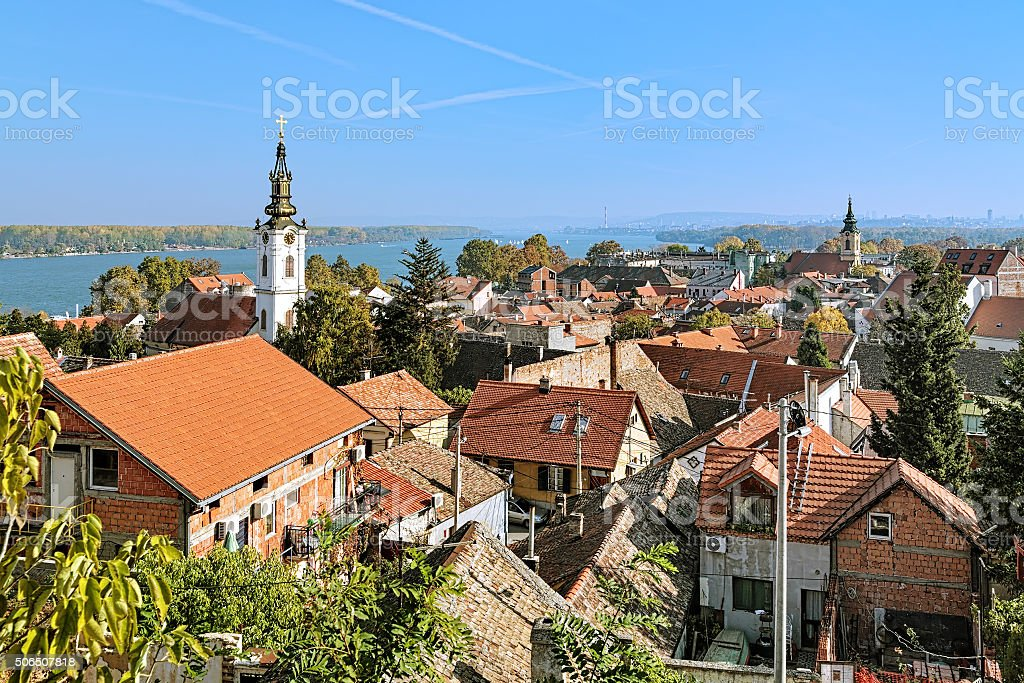 View of St. Nicholas Church, Danube river and Belgrade, Serbia stock photo