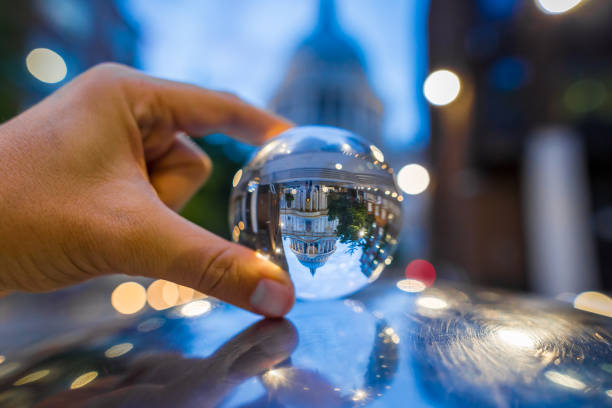 View of St Paul through crystal ball stock photo