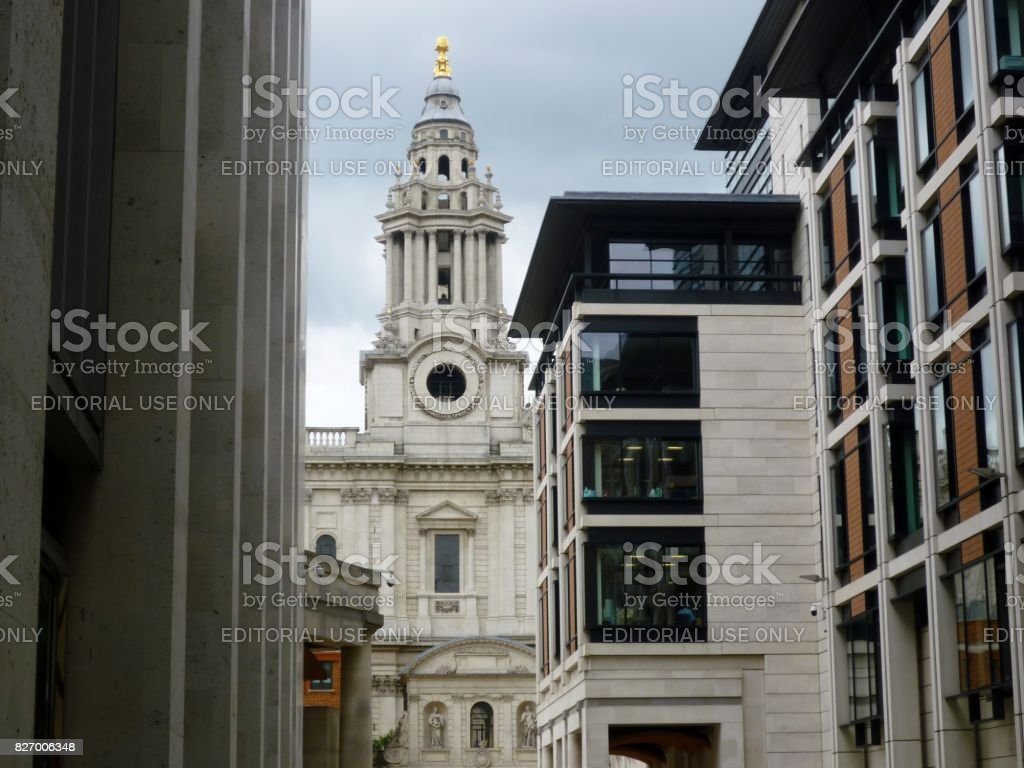 View of St Paul's Cathedral from the buildings of Paternoster Square, London, England stock photo