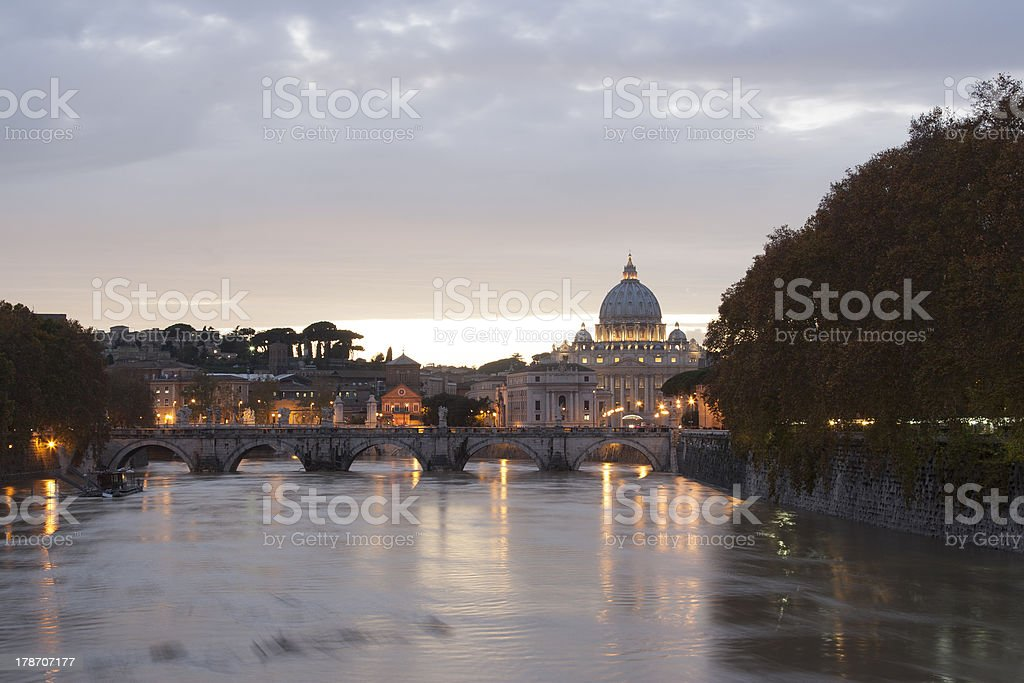 view of st peter's basilica and saint angel bridge royalty-free stock photo