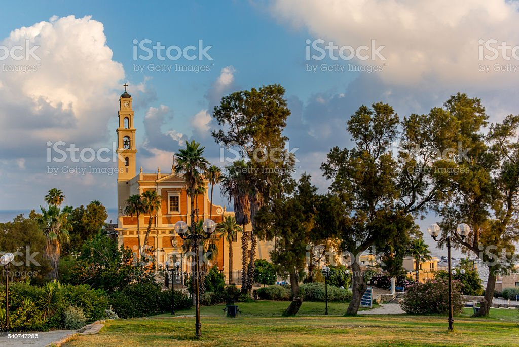 View of St. Peter's Catholic Church in Jaffa - 3 stock photo