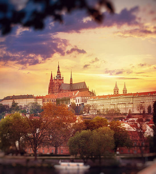 View of St. Vitus Cathedral at sunset stock photo