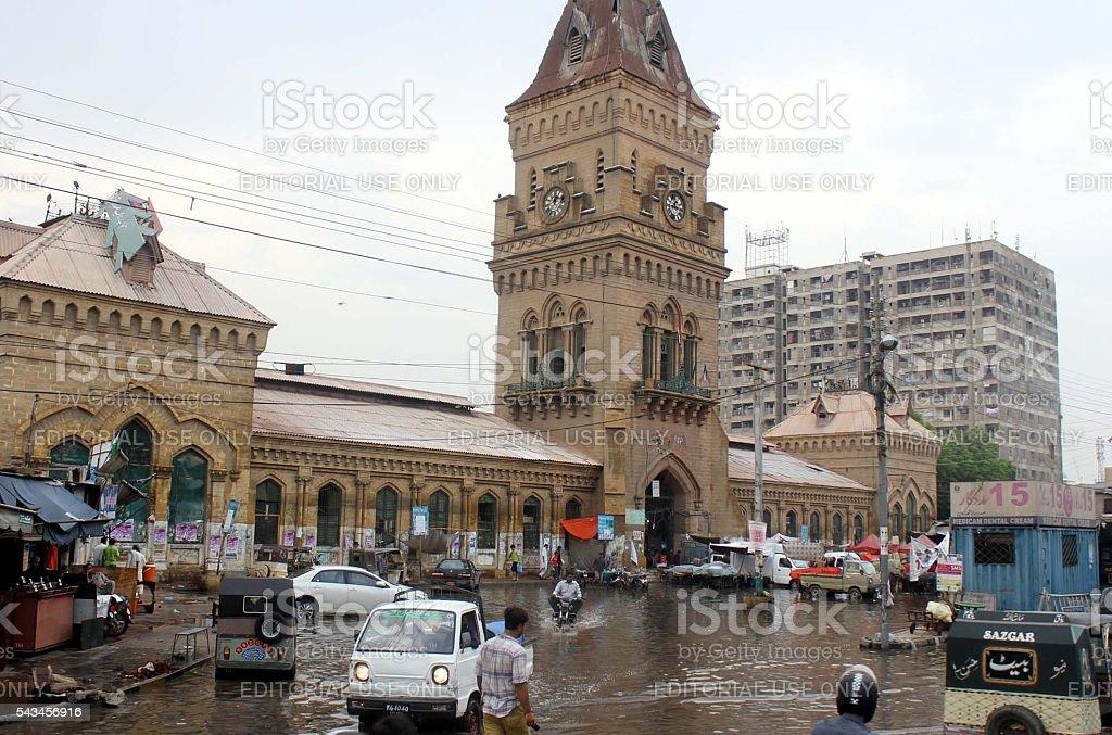 View of stagnant rainwater at Empress Market Saddar stock photo