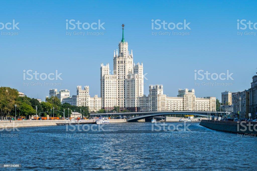 View of Stalin's skyscraper on Kotelnicheskaya Embankment of Mos stock photo
