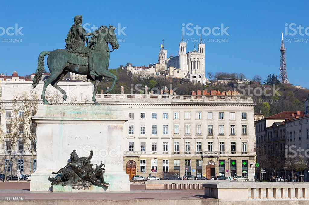 View of Statue and Basilica stock photo