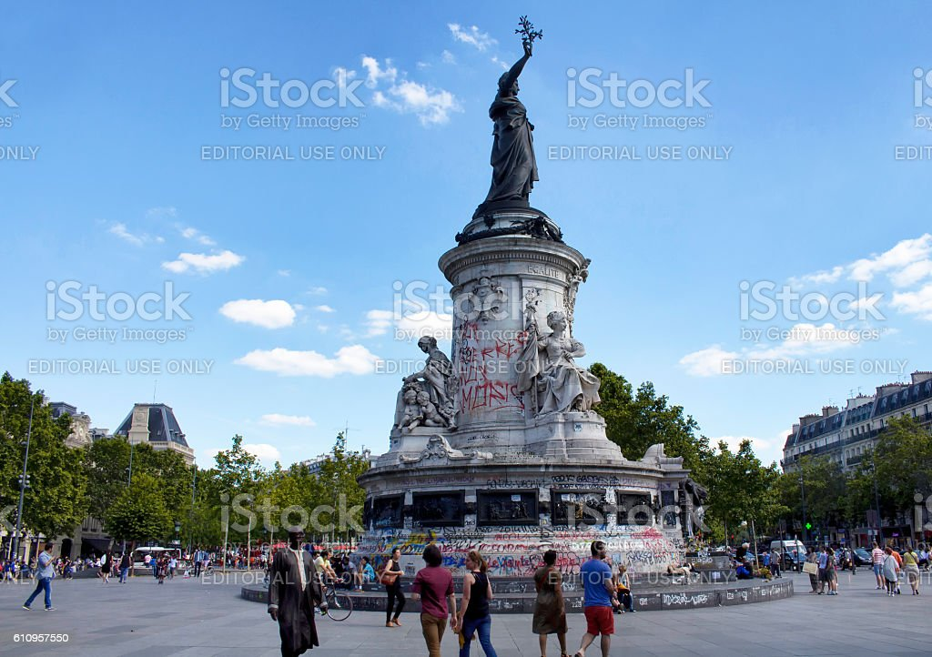 View of statue Andre Tollet at republic square in Paris. stock photo