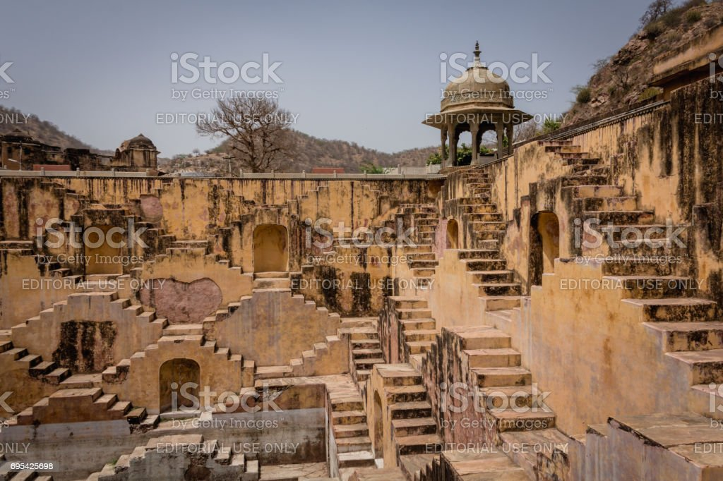 A view of step well 'Panna Meena ka Kund' stock photo
