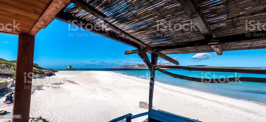 View of Stintino beach from a gazebo stock photo
