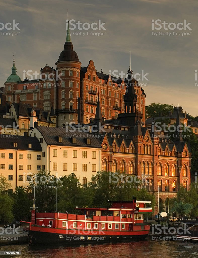 View of Stockholm in sunset light stock photo