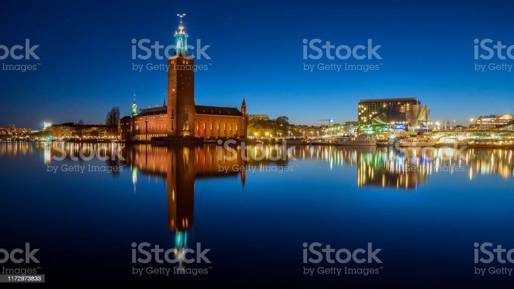 Blick auf Stockholm Schweden bei Nacht - Lizenzfrei Alt Stock-Foto