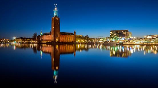 Blick Auf Stockholm Schweden Bei Nacht Stockfoto und mehr Bilder von Alt