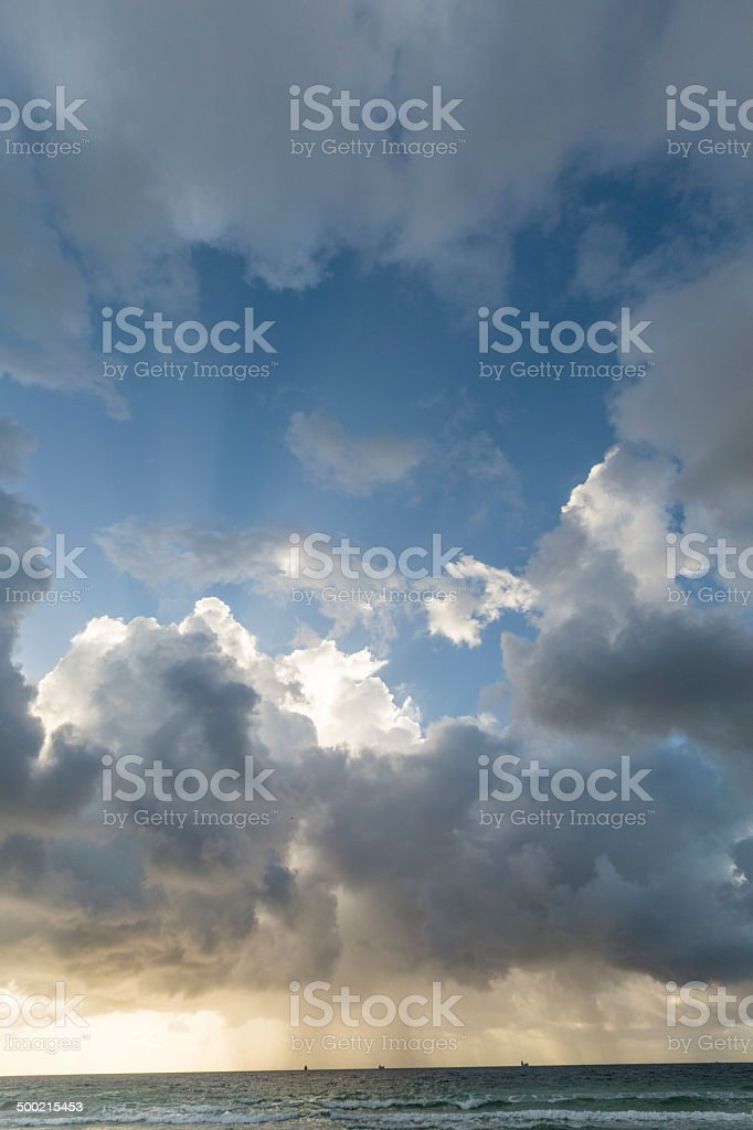 View of storm seascape in sunset stock photo