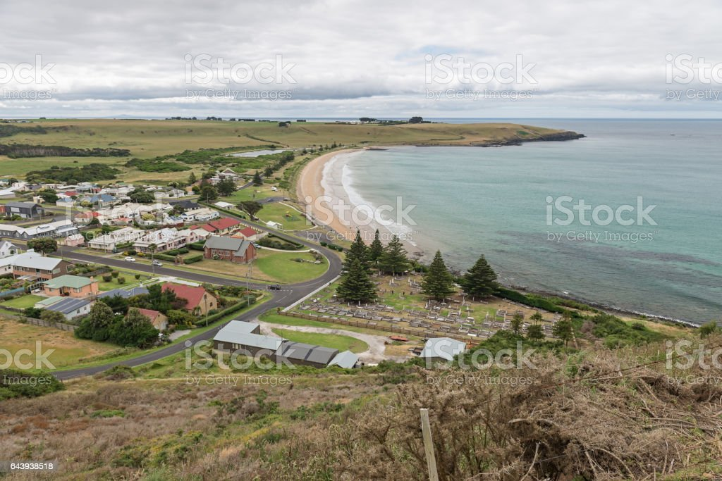View of Strahan Cemetery from The Nut, Tasmania stock photo