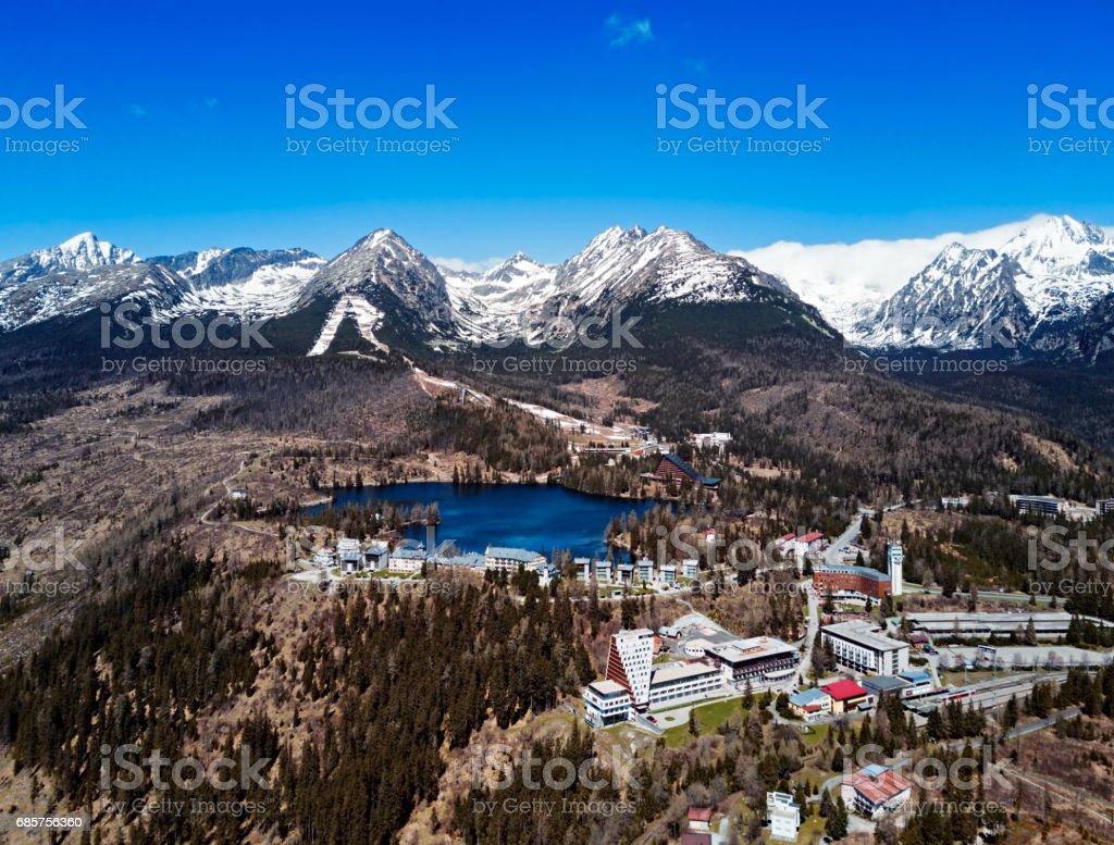 View of Strbske Pleso resort in High Tatras mountains, Slovakia zbiór zdjęć royalty-free