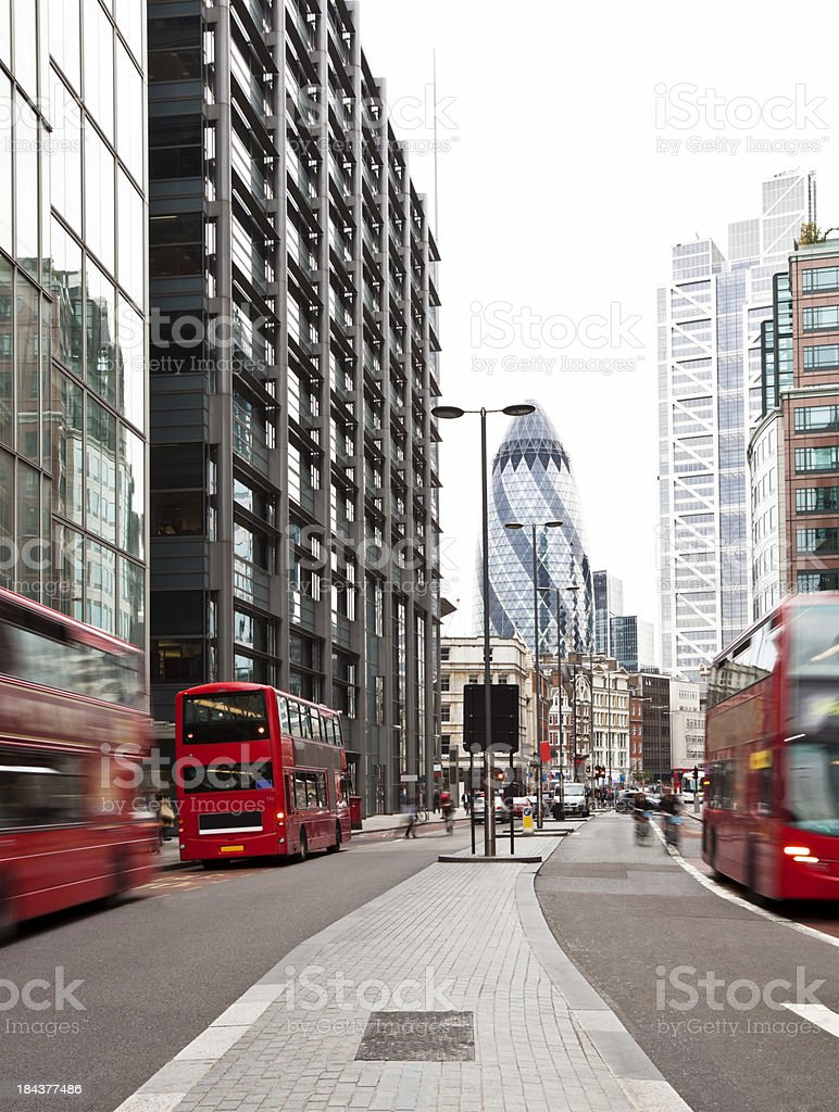 View of Street With Red Double Decker Buses, London, England royalty-free stock photo