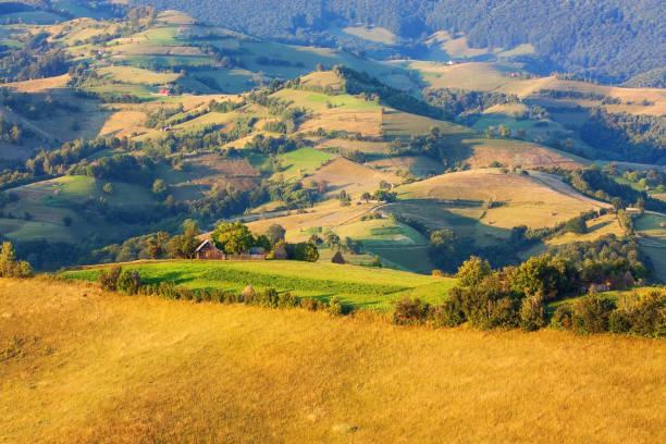 View of subalpine farmlands in the Carpathians stock photo