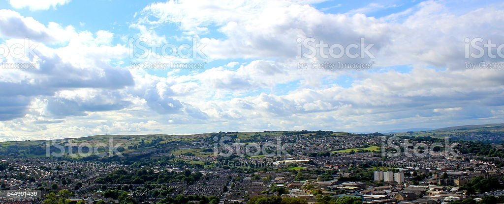 View of suburbs, Aire Valley in Keighley, West Yorkshire stock photo