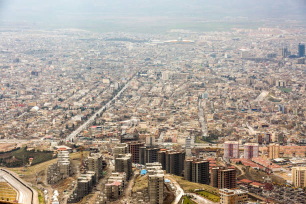 View of Sulaymaniyah, Iraq from above stock photo