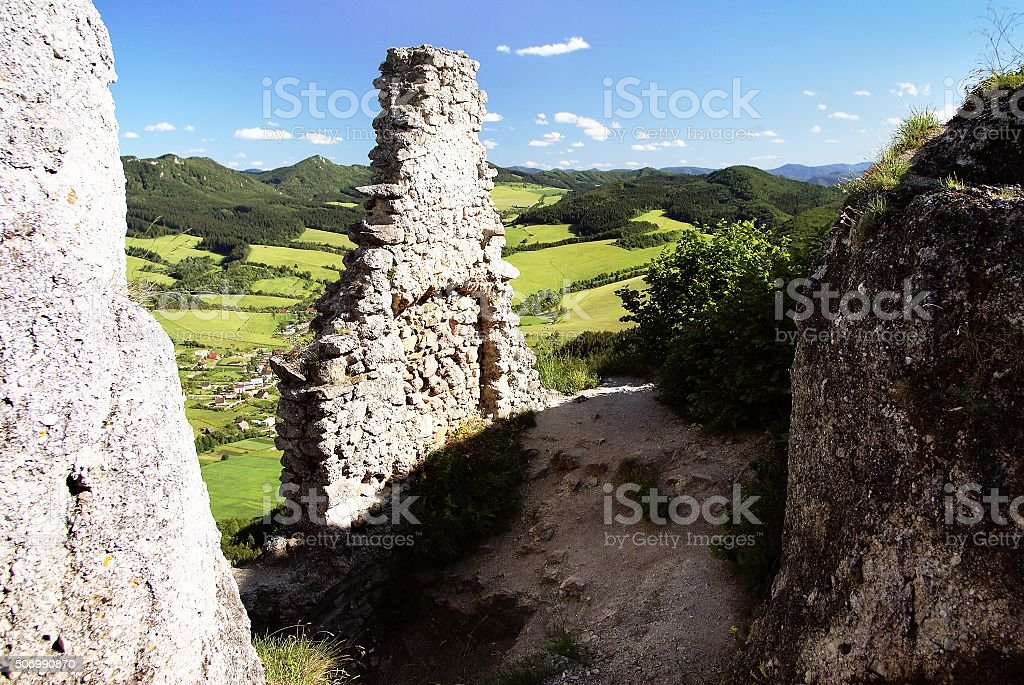 view of sulov village from ruin of sulov castle stock photo