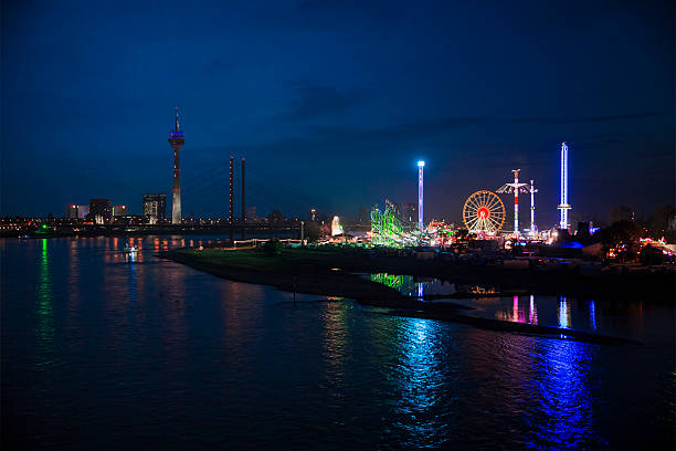 View of Summer fun fair and TV-tower in Düsseldorf stock photo