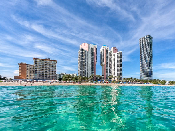 View of Sunny Isles Beach Florida waterfront from ocean stock photo