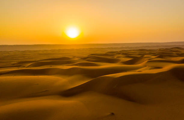 View of sunset above desert,Oman stock photo