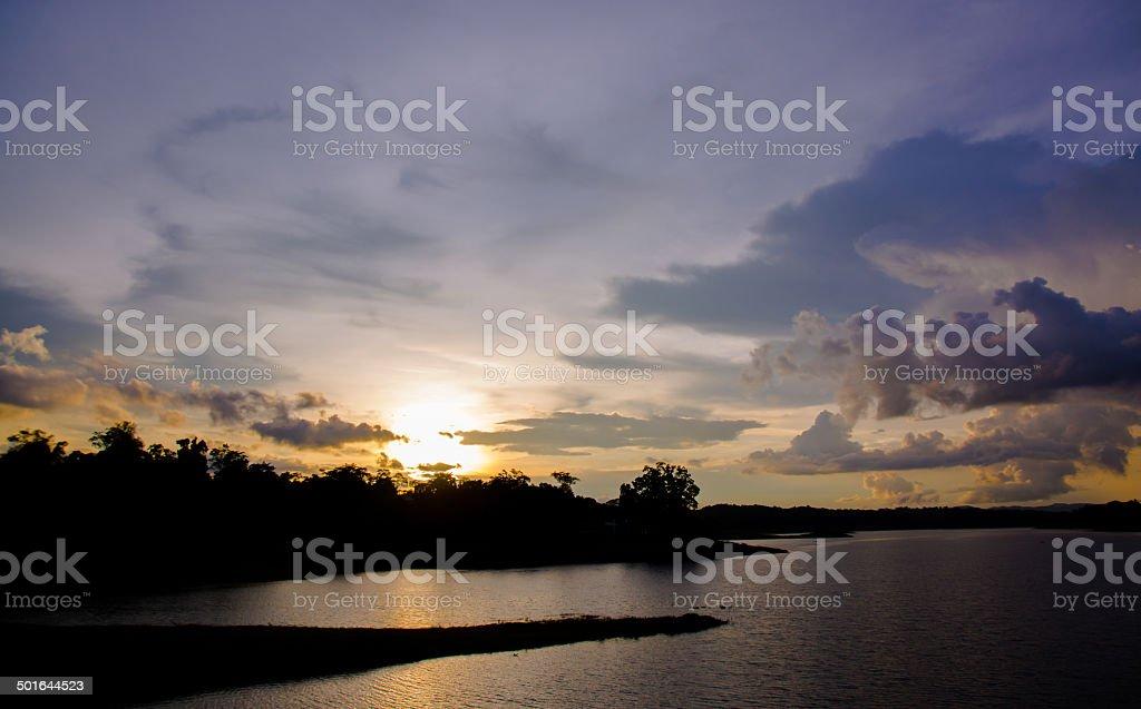 view of sunset Jaraporn Dam stock photo