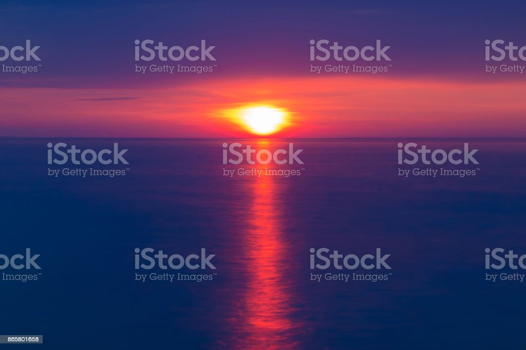 View of sunset on sea stock photo
