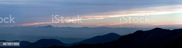 Photo of view of sunset over mountain range