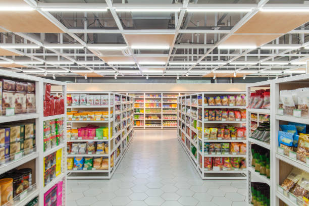View of supermarket interior snacks section stock photo