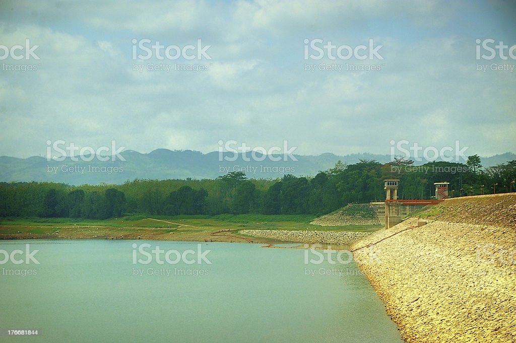 View of Sutami Lahor Dam under blue sky royalty-free stock photo