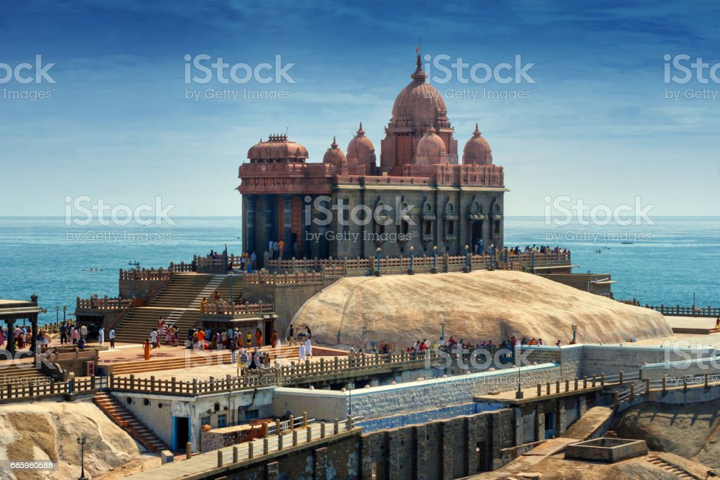 A view of Swami Vivekananda Memorial center situated on a small rock island in Kanyakumari, India stock photo